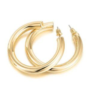 14K Gold Colored Lightweight Chunky Open Hoop